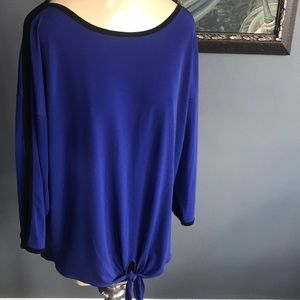 Chico's royal stretch top/black edging, size L/12